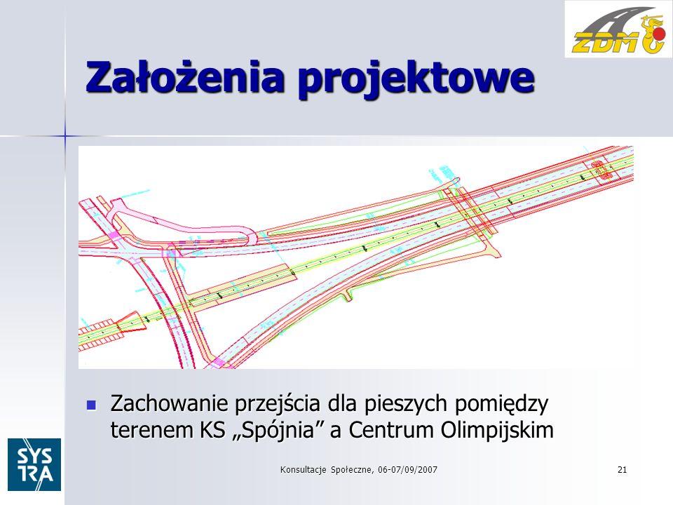 Założenia projektowe Zachowanie przejścia dla pieszych pomiędzy terenem KS Spójnia a Centrum Olimpijskim Zachowanie przejścia dla pieszych pomiędzy terenem KS Spójnia a Centrum Olimpijskim Konsultacje Społeczne, 06-07/09/2007 21