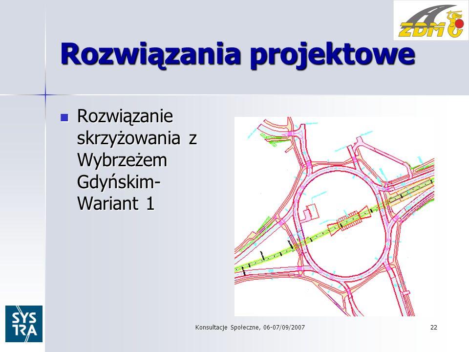 22 Rozwiązania projektowe Rozwiązanie skrzyżowania z Wybrzeżem Gdyńskim- Wariant 1 Rozwiązanie skrzyżowania z Wybrzeżem Gdyńskim- Wariant 1