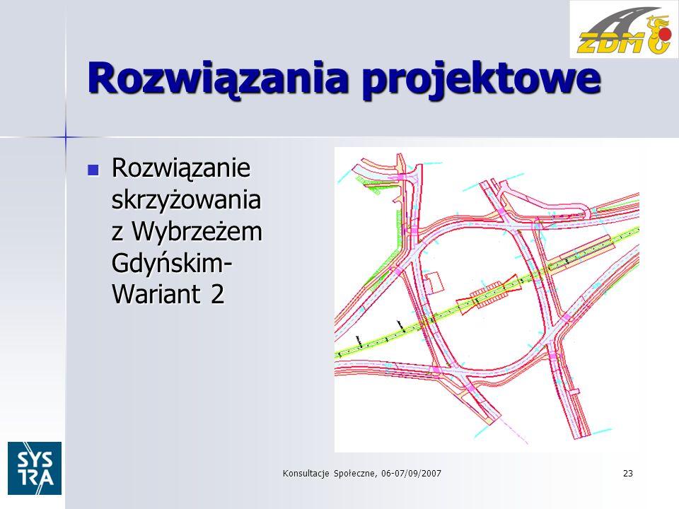 Rozwiązania projektowe Rozwiązanie skrzyżowania z Wybrzeżem Gdyńskim- Wariant 2 Rozwiązanie skrzyżowania z Wybrzeżem Gdyńskim- Wariant 2 Konsultacje Społeczne, 06-07/09/2007 23