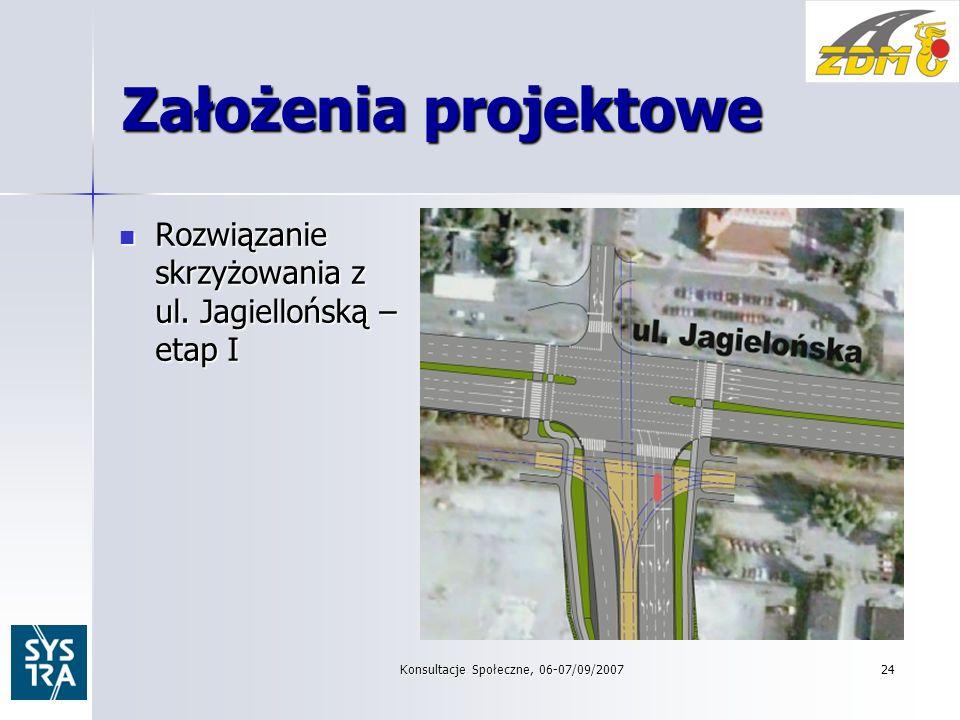 24 Założenia projektowe Rozwiązanie skrzyżowania z ul.