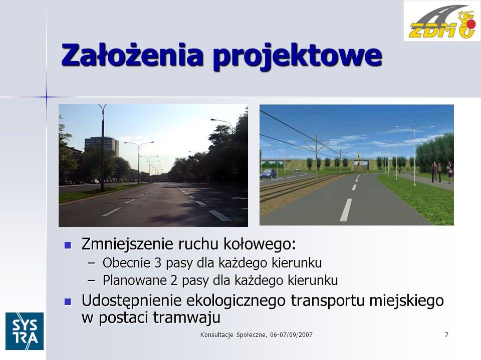 7 Założenia projektowe Zmniejszenie ruchu kołowego: Zmniejszenie ruchu kołowego: –Obecnie 3 pasy dla każdego kierunku –Planowane 2 pasy dla każdego kierunku Udostępnienie ekologicznego transportu miejskiego w postaci tramwaju Udostępnienie ekologicznego transportu miejskiego w postaci tramwaju