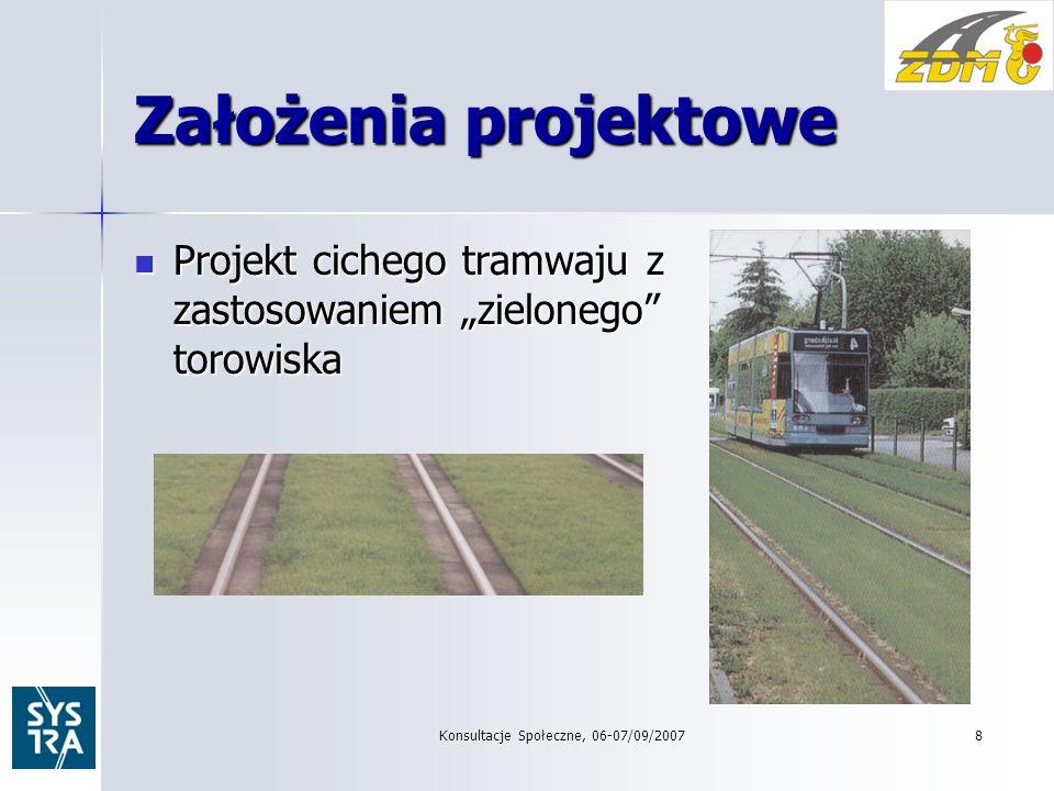 Konsultacje Społeczne, 06-07/09/20078 Założenia projektowe Projekt cichego tramwaju z zastosowaniem zielonego torowiska Projekt cichego tramwaju z zastosowaniem zielonego torowiska