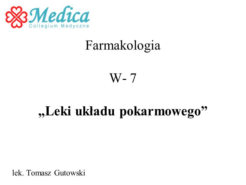 Farmakologia W- 7 Leki układu pokarmowego lek. Tomasz Gutowski