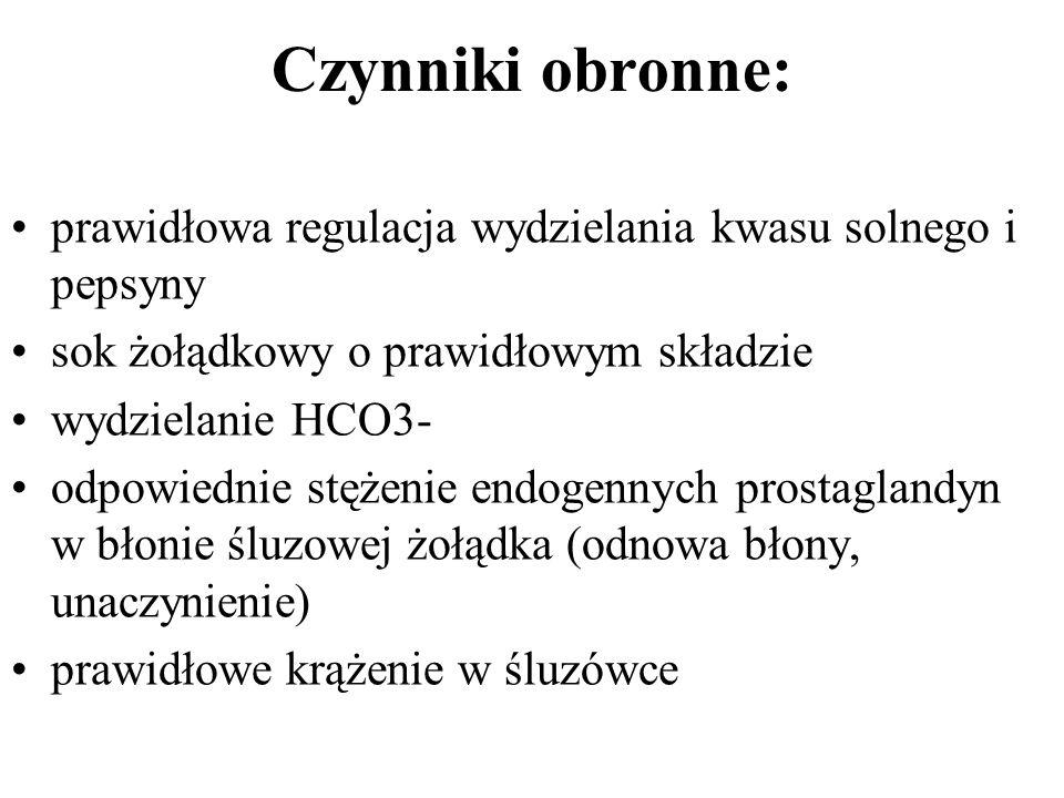 Czynniki obronne: prawidłowa regulacja wydzielania kwasu solnego i pepsyny sok żołądkowy o prawidłowym składzie wydzielanie HCO3- odpowiednie stężenie