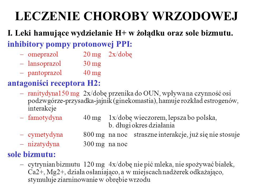 LECZENIE CHOROBY WRZODOWEJ I. Leki hamujące wydzielanie H+ w żołądku oraz sole bizmutu. inhibitory pompy protonowej PPI: –omeprazol20 mg2x/dobę –lanso