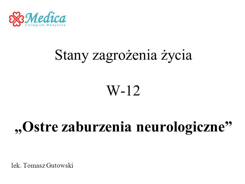 Stany zagrożenia życia W-12 Ostre zaburzenia neurologiczne lek. Tomasz Gutowski
