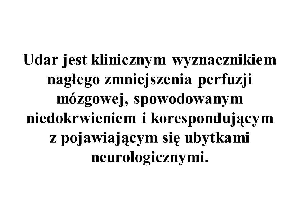 Udar jest klinicznym wyznacznikiem nagłego zmniejszenia perfuzji mózgowej, spowodowanym niedokrwieniem i korespondującym z pojawiającym się ubytkami n