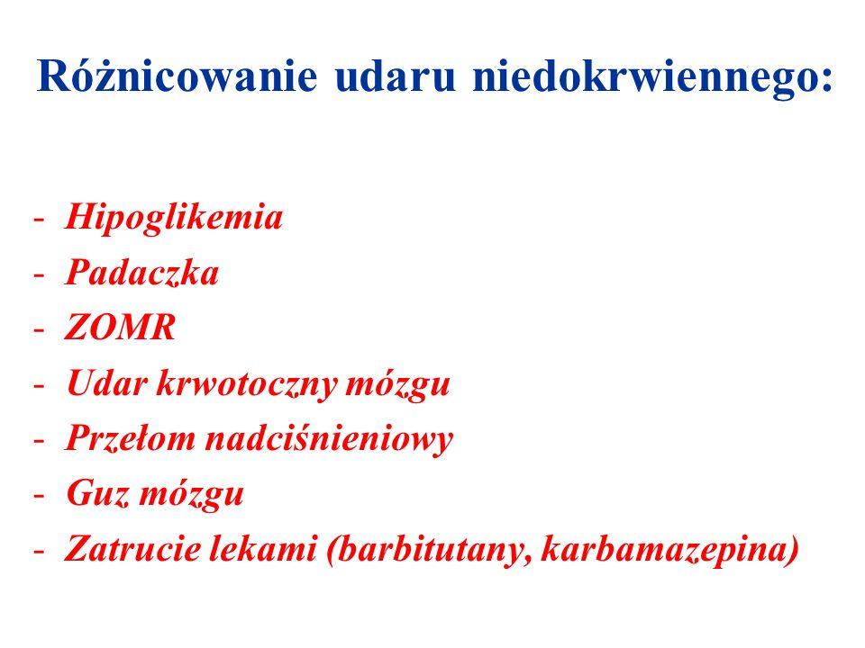 Różnicowanie udaru niedokrwiennego: -Hipoglikemia -Padaczka -ZOMR -Udar krwotoczny mózgu -Przełom nadciśnieniowy -Guz mózgu -Zatrucie lekami (barbitut