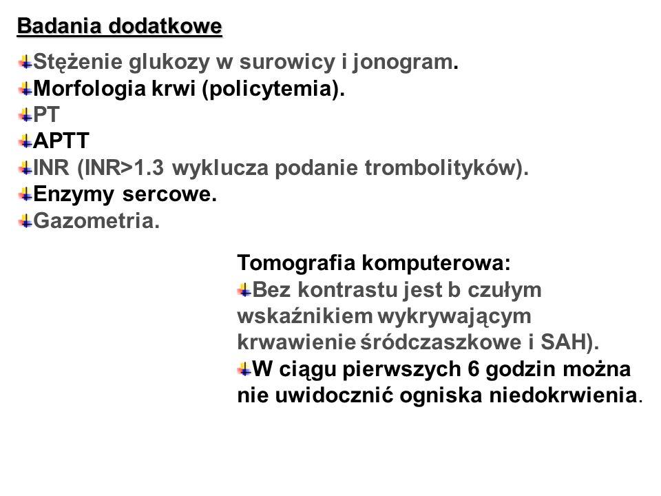 Badania dodatkowe Stężenie glukozy w surowicy i jonogram. Morfologia krwi (policytemia). PT APTT INR (INR>1.3 wyklucza podanie trombolityków). Enzymy