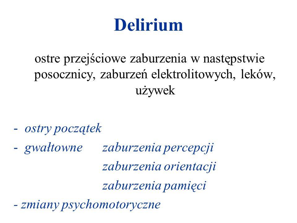 Delirium ostre przejściowe zaburzenia w następstwie posocznicy, zaburzeń elektrolitowych, leków, używek -ostry początek -gwałtowne zaburzenia percepcj
