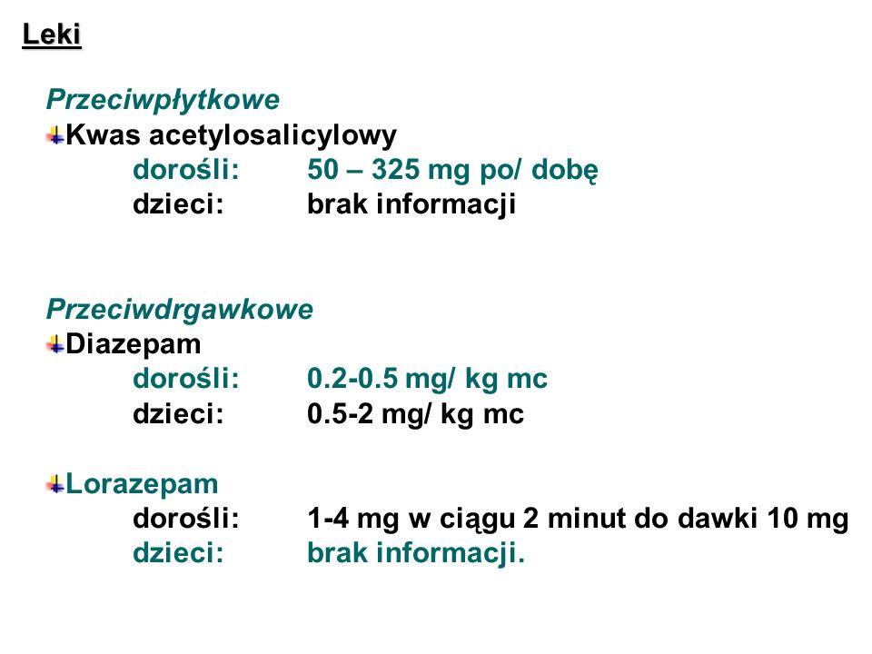 Leki Przeciwpłytkowe Kwas acetylosalicylowy dorośli:50 – 325 mg po/ dobę dzieci:brak informacji Przeciwdrgawkowe Diazepam dorośli:0.2-0.5 mg/ kg mc dz