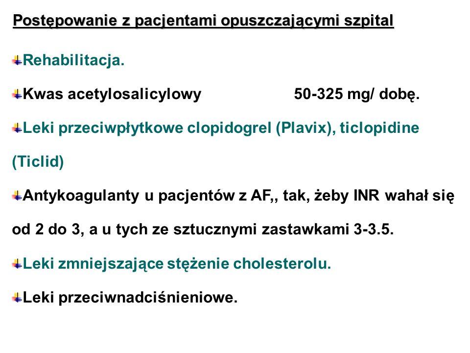 Postępowanie z pacjentami opuszczającymi szpital Rehabilitacja. Kwas acetylosalicylowy50-325 mg/ dobę. Leki przeciwpłytkowe clopidogrel (Plavix), ticl