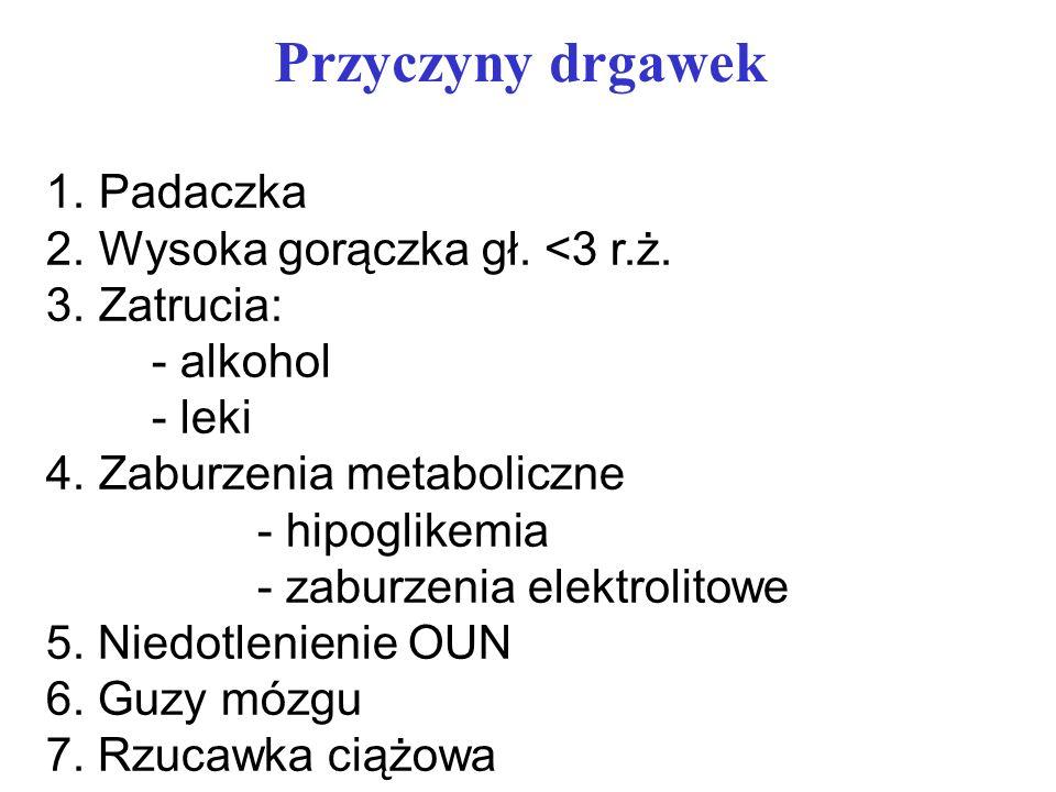 Przyczyny drgawek 1.Padaczka 2.Wysoka gorączka gł. <3 r.ż. 3.Zatrucia: - alkohol - leki 4.Zaburzenia metaboliczne - hipoglikemia - zaburzenia elektrol