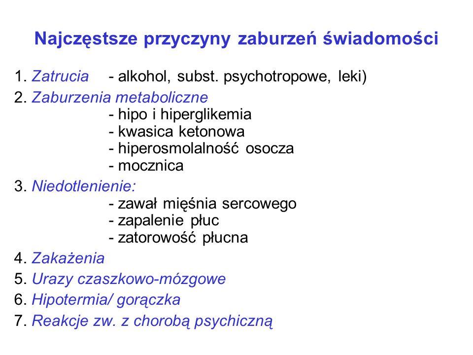 Najczęstsze przyczyny zaburzeń świadomości 1. Zatrucia - alkohol, subst. psychotropowe, leki) 2. Zaburzenia metaboliczne - hipo i hiperglikemia - kwas