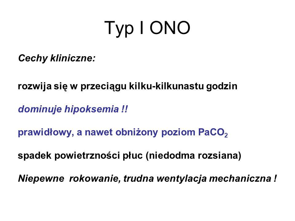 Typ I ONO Cechy kliniczne: rozwija się w przeciągu kilku-kilkunastu godzin dominuje hipoksemia !! prawidłowy, a nawet obniżony poziom PaCO 2 spadek po