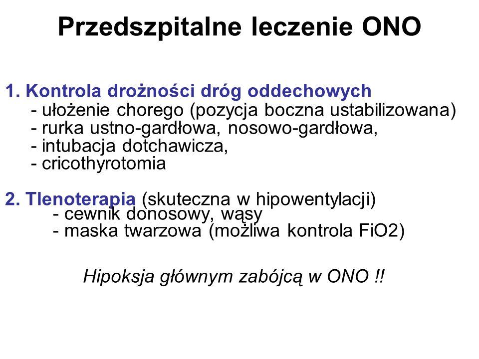 Przedszpitalne leczenie ONO 1. Kontrola drożności dróg oddechowych - ułożenie chorego (pozycja boczna ustabilizowana) - rurka ustno-gardłowa, nosowo-g