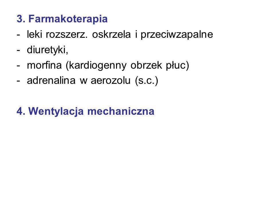 3. Farmakoterapia -leki rozszerz. oskrzela i przeciwzapalne -diuretyki, -morfina (kardiogenny obrzek płuc) -adrenalina w aerozolu (s.c.) 4. Wentylacja