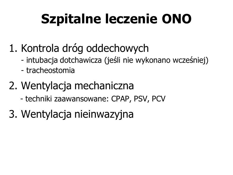 Szpitalne leczenie ONO 1. Kontrola dróg oddechowych - intubacja dotchawicza (jeśli nie wykonano wcześniej) - tracheostomia 2. Wentylacja mechaniczna -