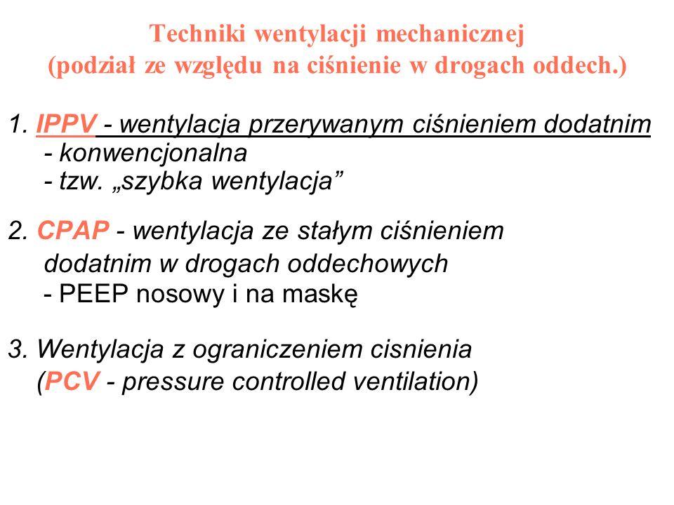 Techniki wentylacji mechanicznej (podział ze względu na ciśnienie w drogach oddech.) 1. IPPV - wentylacja przerywanym ciśnieniem dodatnim - konwencjon