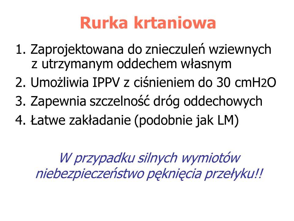 Rurka krtaniowa 1. Zaprojektowana do znieczuleń wziewnych z utrzymanym oddechem własnym 2. Umożliwia IPPV z ciśnieniem do 30 cmH 2 O 3. Zapewnia szcze
