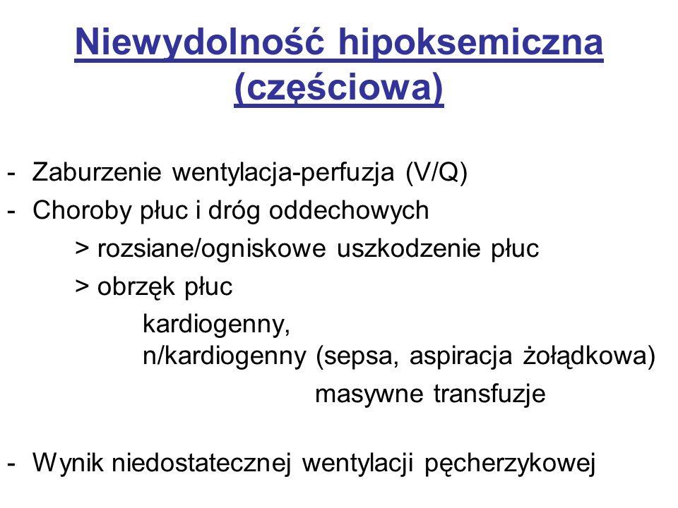 Niewydolność hipoksemiczna (częściowa) -Zaburzenie wentylacja-perfuzja (V/Q) -Choroby płuc i dróg oddechowych > rozsiane/ogniskowe uszkodzenie płuc >