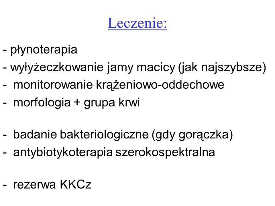Leczenie: - płynoterapia - wyłyżeczkowanie jamy macicy (jak najszybsze) -monitorowanie krążeniowo-oddechowe -morfologia + grupa krwi -badanie bakterio