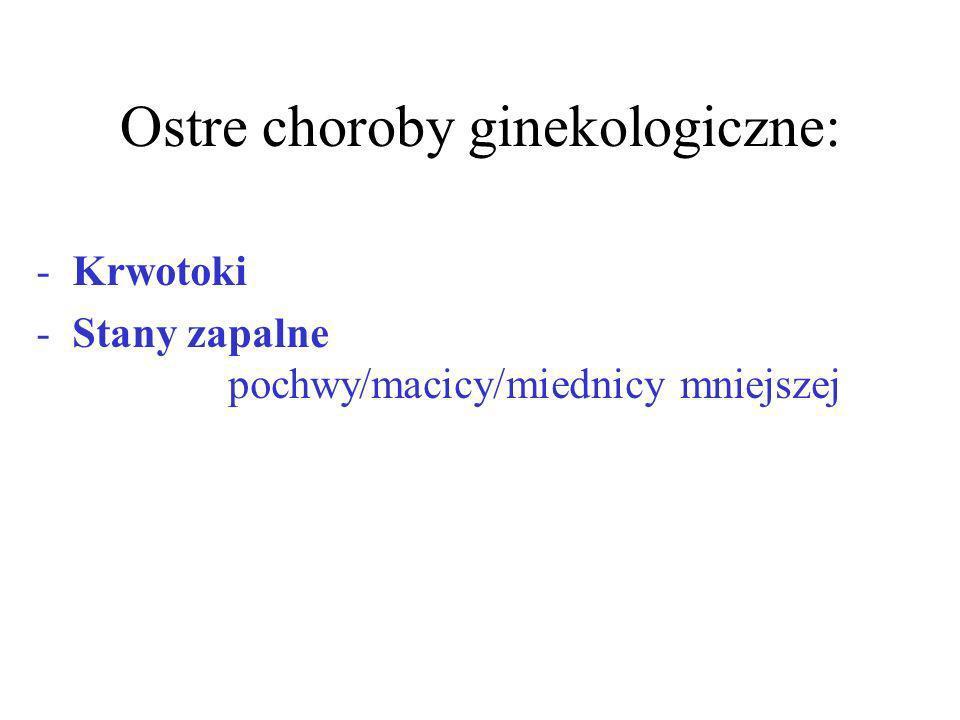 Ostre choroby ginekologiczne: -Krwotoki -Stany zapalne pochwy/macicy/miednicy mniejszej