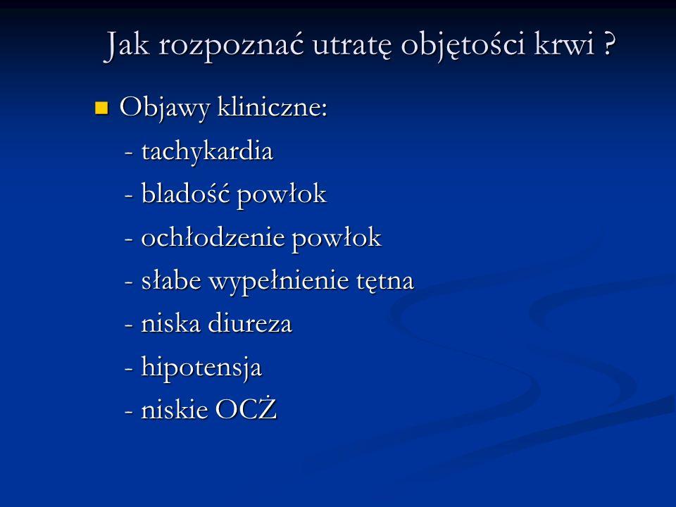 Jak rozpoznać utratę objętości krwi ? Objawy kliniczne: Objawy kliniczne: - tachykardia - tachykardia - bladość powłok - bladość powłok - ochłodzenie