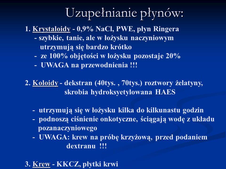 Uzupełnianie płynów: Krystaloidy 1. Krystaloidy - 0,9% NaCl, PWE, płyn Ringera - szybkie, tanie, ale w łożysku naczyniowym utrzymują się bardzo krótko