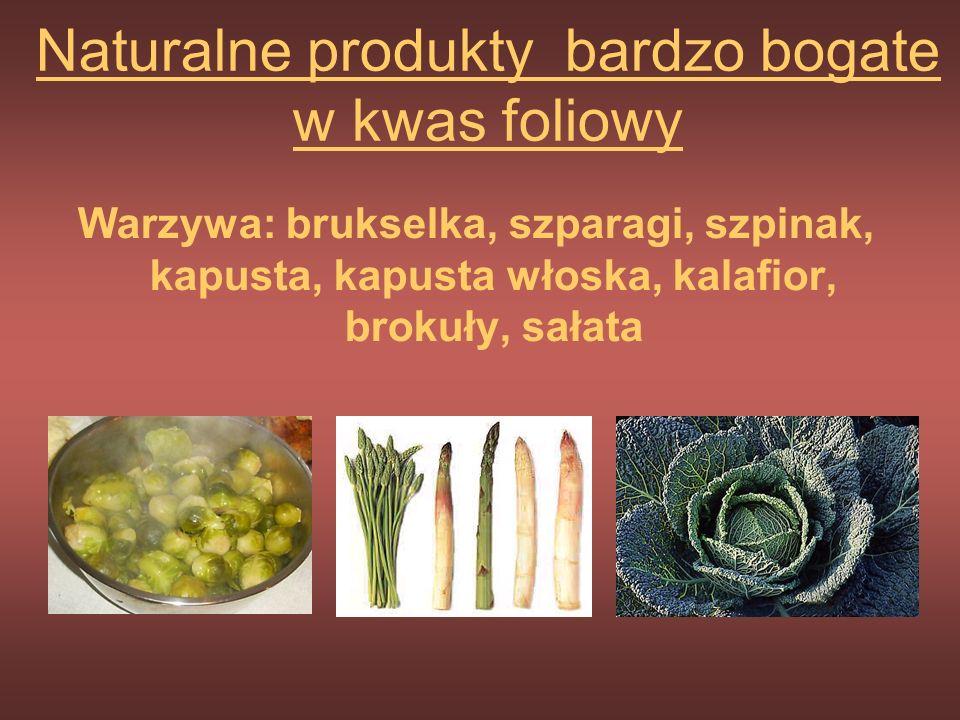 Naturalne źródła kwasu foliowego Foliany występują w produktach roślinnych i zwierzęcych. Podczas obróbki cieplnej czy nieprawidłowego przechowywania