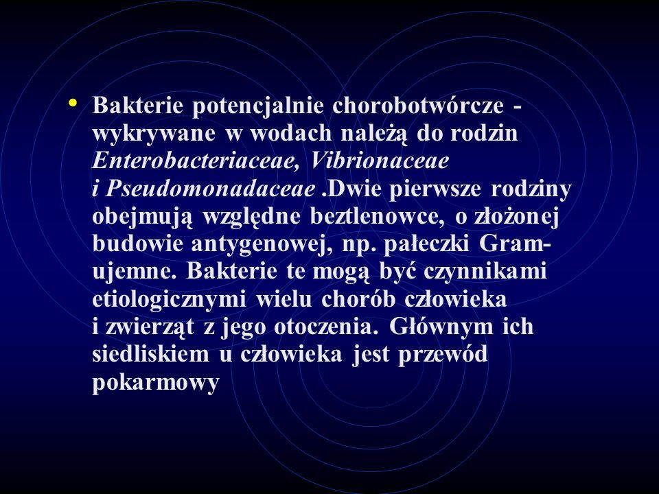 Bakterie potencjalnie chorobotwórcze - wykrywane w wodach należą do rodzin Enterobacteriaceae, Vibrionaceae i Pseudomonadaceae.Dwie pierwsze rodziny o
