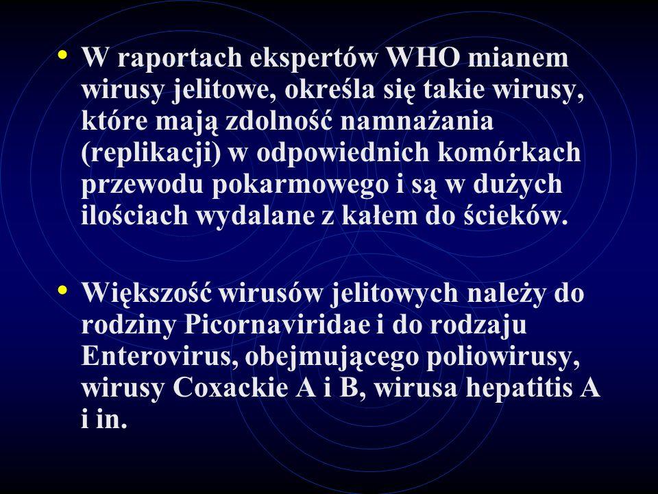 W raportach ekspertów WHO mianem wirusy jelitowe, określa się takie wirusy, które mają zdolność namnażania (replikacji) w odpowiednich komórkach przew