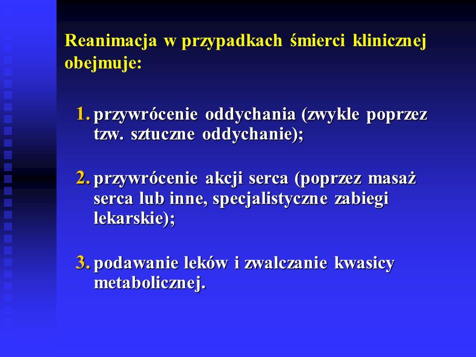 Reanimacja w przypadkach śmierci klinicznej obejmuje: 1. przywrócenie oddychania (zwykle poprzez tzw. sztuczne oddychanie); 1. przywrócenie oddychania