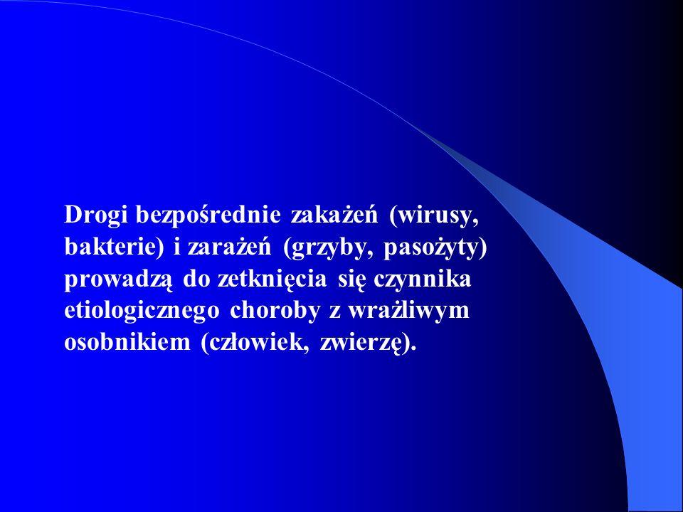 Drogi bezpośrednie zakażeń (wirusy, bakterie) i zarażeń (grzyby, pasożyty) prowadzą do zetknięcia się czynnika etiologicznego choroby z wrażliwym osob