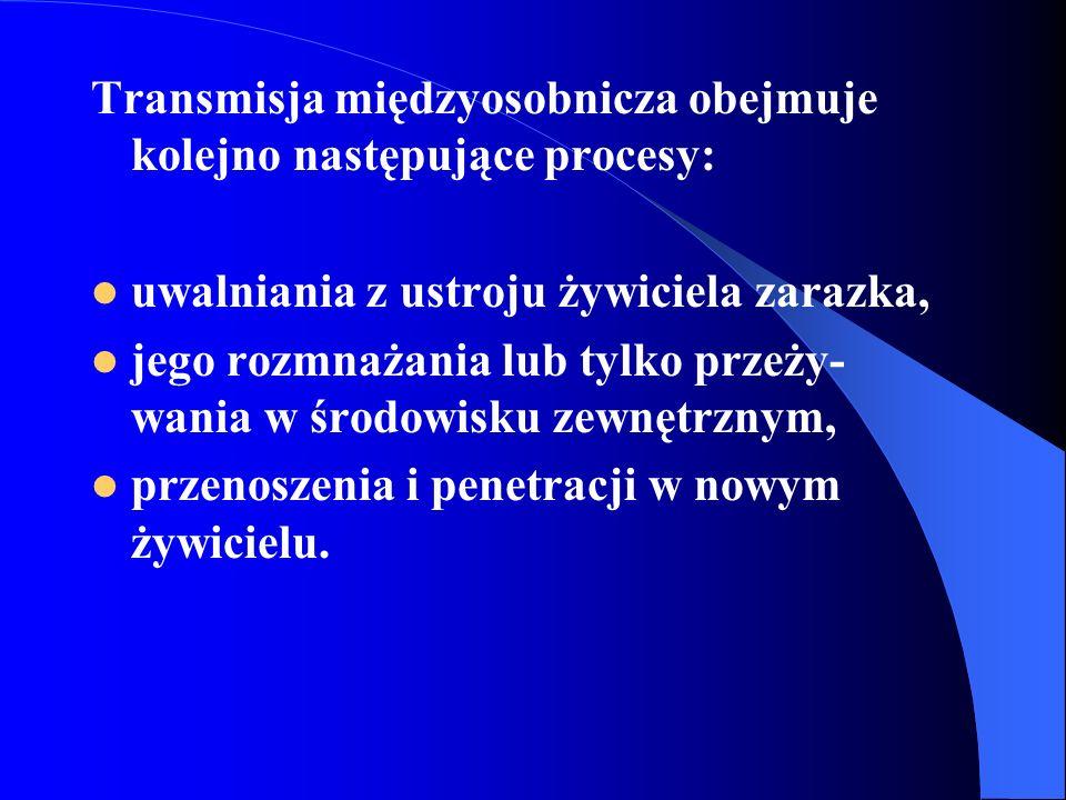 Transmisja międzyosobnicza obejmuje kolejno następujące procesy: uwalniania z ustroju żywiciela zarazka, jego rozmnażania lub tylko przeży- wania w śr