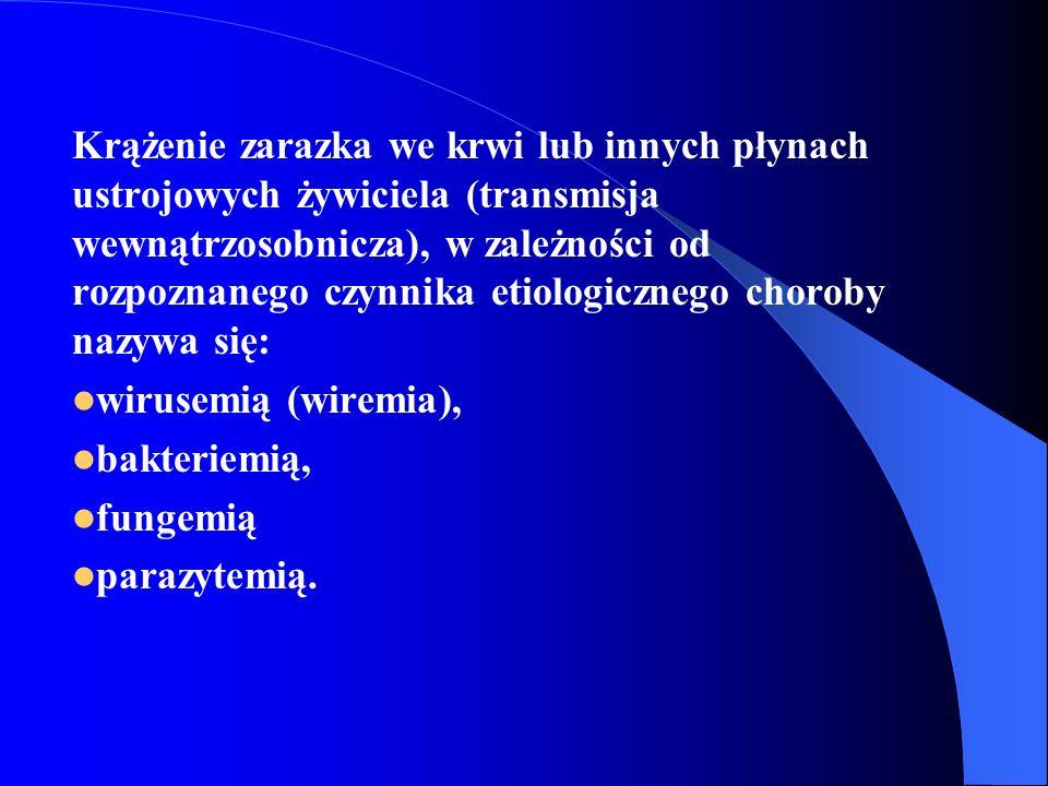 Krążenie zarazka we krwi lub innych płynach ustrojowych żywiciela (transmisja wewnątrzosobnicza), w zależności od rozpoznanego czynnika etiologicznego