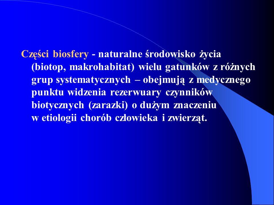 Części biosfery - naturalne środowisko życia (biotop, makrohabitat) wielu gatunków z różnych grup systematycznych – obejmują z medycznego punktu widze