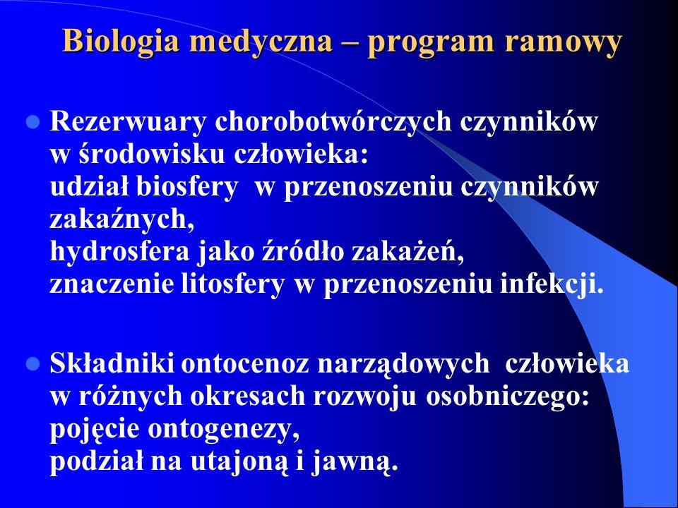 Biologia medyczna – program ramowy Rezerwuary chorobotwórczych czynników w środowisku człowieka: udział biosfery w przenoszeniu czynników zakaźnych, hydrosfera jako źródło zakażeń, znaczenie litosfery w przenoszeniu infekcji.