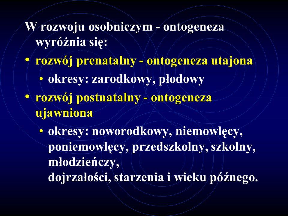 W rozwoju osobniczym - ontogeneza wyróżnia się: rozwój prenatalny - ontogeneza utajona okresy: zarodkowy, płodowy rozwój postnatalny - ontogeneza ujaw