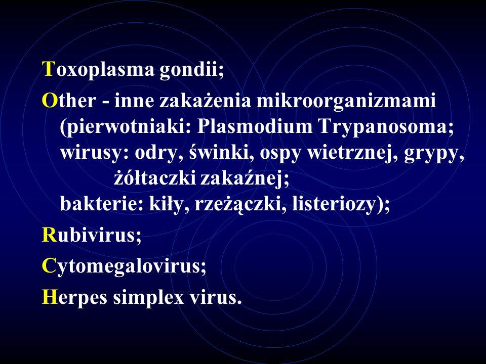 Toxoplasma gondii; Other - inne zakażenia mikroorganizmami (pierwotniaki: Plasmodium Trypanosoma; wirusy: odry, świnki, ospy wietrznej, grypy, żółtacz