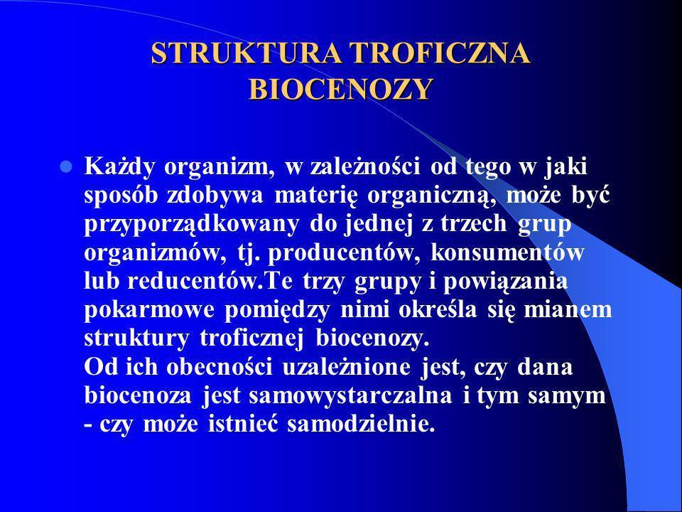 STRUKTURA TROFICZNA BIOCENOZY Każdy organizm, w zależności od tego w jaki sposób zdobywa materię organiczną, może być przyporządkowany do jednej z trz