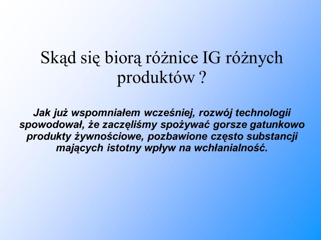 Skąd się biorą różnice IG różnych produktów ? Jak już wspomniałem wcześniej, rozwój technologii spowodował, że zaczęliśmy spożywać gorsze gatunkowo pr