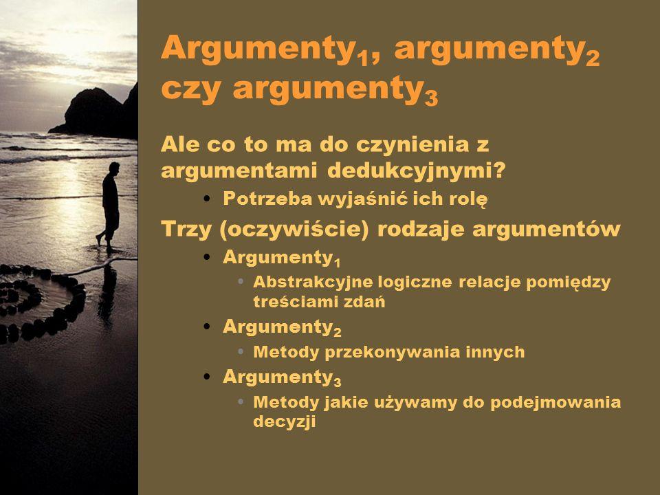 Argumenty 1, argumenty 2 czy argumenty 3 Ale co to ma do czynienia z argumentami dedukcyjnymi? Potrzeba wyjaśnić ich rolę Trzy (oczywiście) rodzaje ar