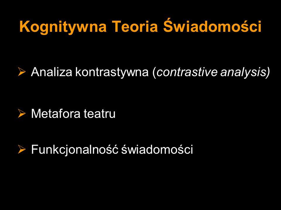 Kognitywna Teoria Świadomości Analiza kontrastywna (contrastive analysis) Metafora teatru Funkcjonalność świadomości