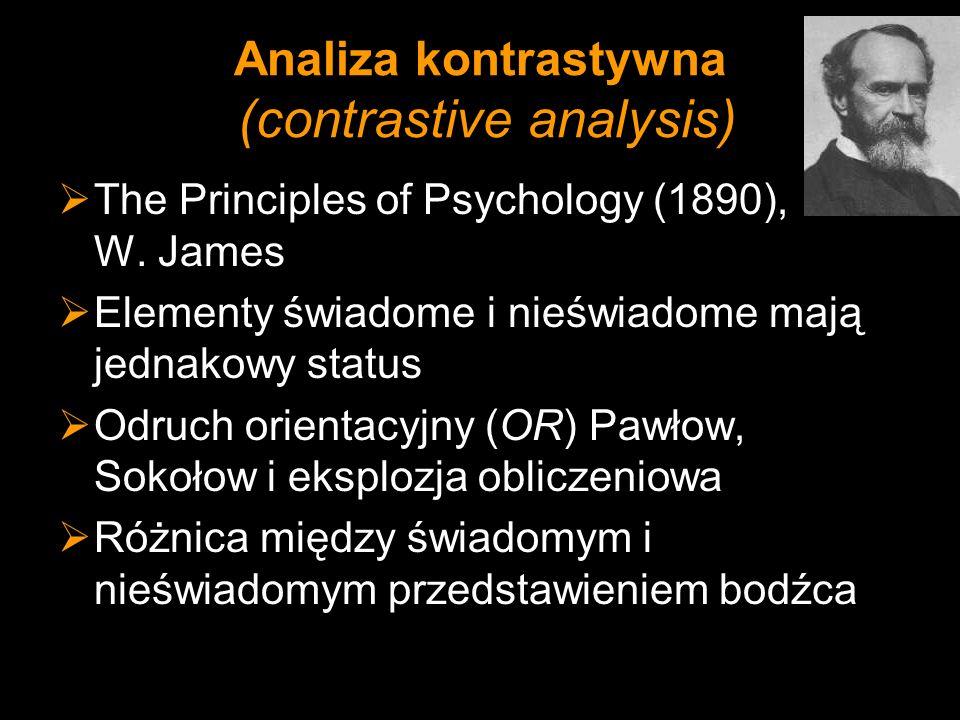 Analiza kontrastywna (contrastive analysis) The Principles of Psychology (1890), W. James Elementy świadome i nieświadome mają jednakowy status Odruch