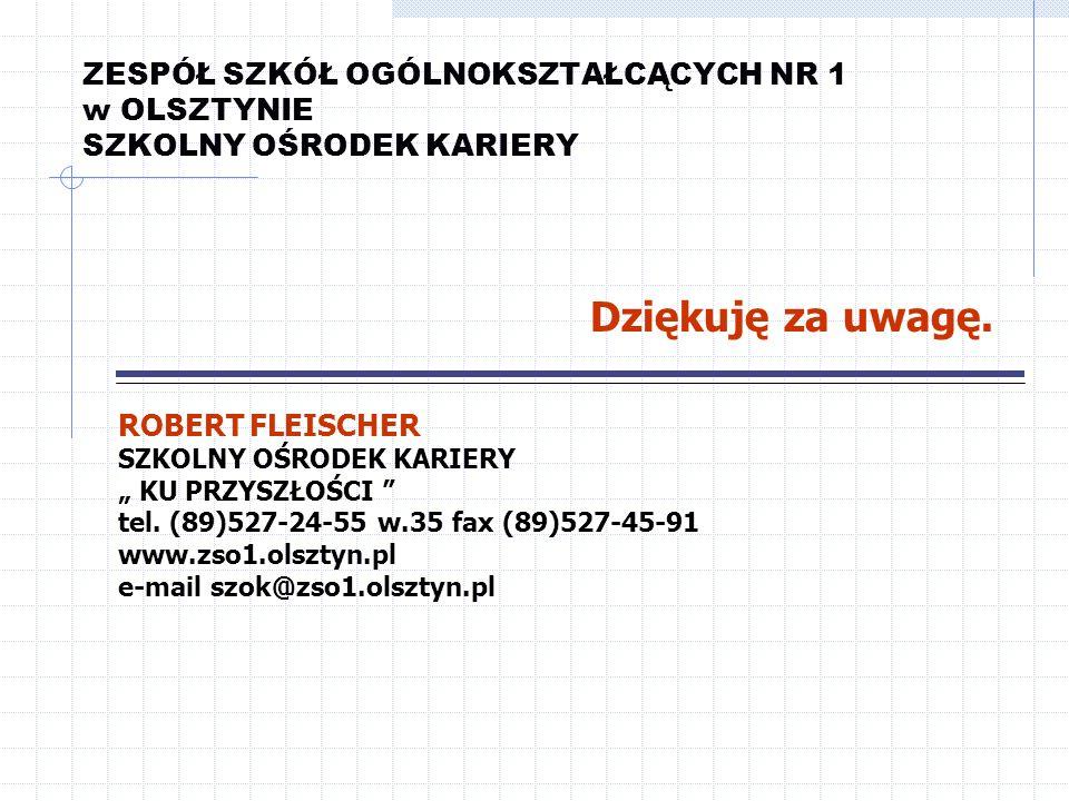 ZESPÓŁ SZKÓŁ OGÓLNOKSZTAŁCĄCYCH NR 1 w OLSZTYNIE SZKOLNY OŚRODEK KARIERY ROBERT FLEISCHER SZKOLNY OŚRODEK KARIERY KU PRZYSZŁOŚCI tel. (89)527-24-55 w.