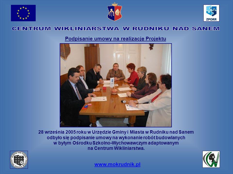 www.mokrudnik.pl 28 września 2005 roku w Urzędzie Gminy i Miasta w Rudniku nad Sanem odbyło się podpisanie umowy na wykonanie robót budowlanych w były