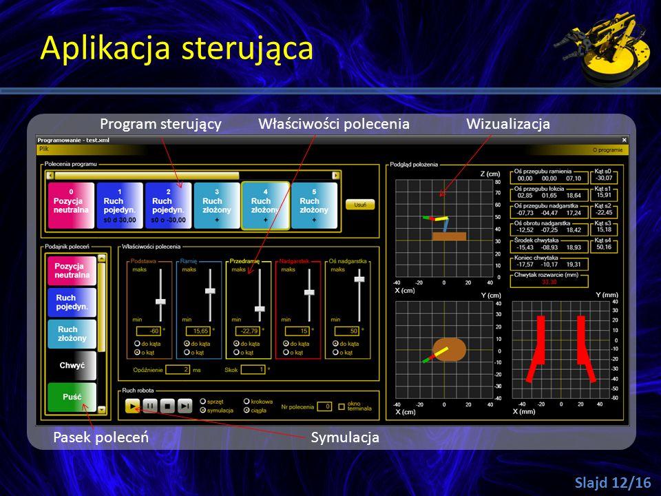 Aplikacja sterująca Slajd 12/16 Program sterującyWłaściwości poleceniaWizualizacja SymulacjaPasek poleceń