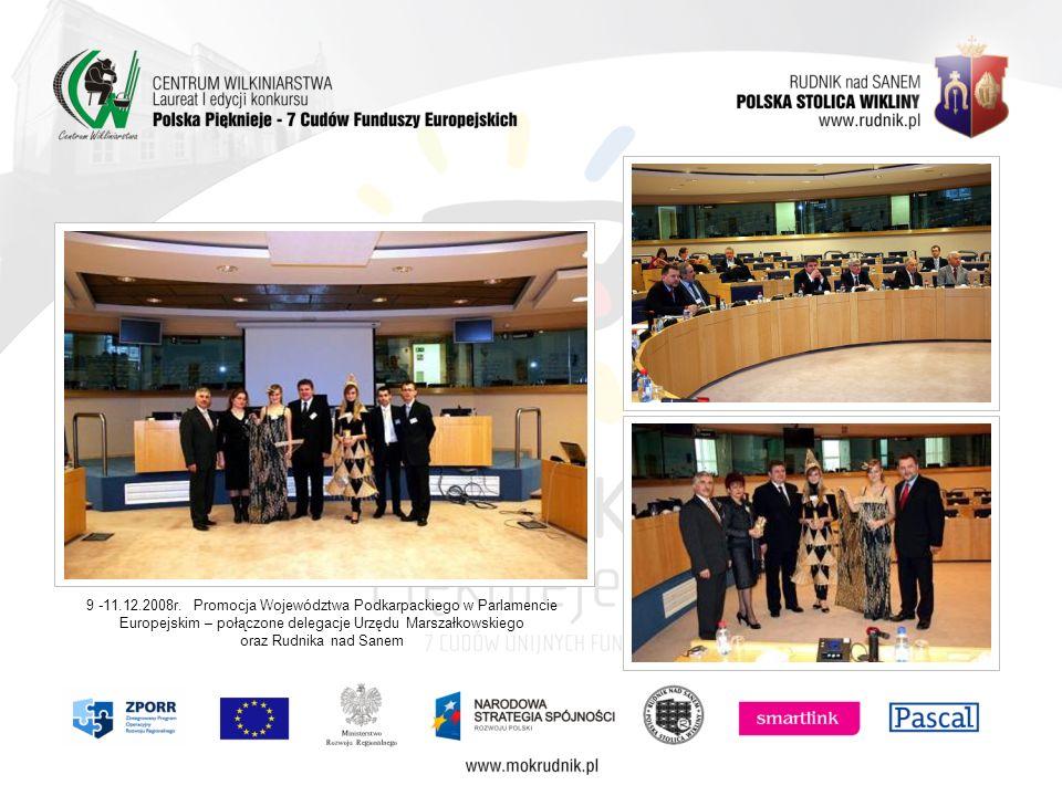 9 -11.12.2008r. Promocja Województwa Podkarpackiego w Parlamencie Europejskim – połączone delegacje Urzędu Marszałkowskiego oraz Rudnika nad Sanem