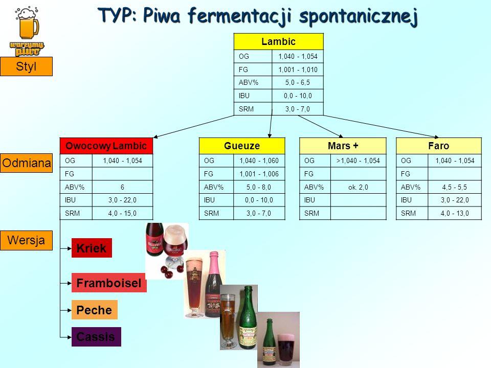 TYP: Piwa fermentacji spontanicznej Lambic OG1,040 - 1,054 FG1,001 - 1,010 ABV%5,0 - 6,5 IBU0,0 - 10,0 SRM3,0 - 7,0 Gueuze OG1,040 - 1,060 FG1,001 - 1